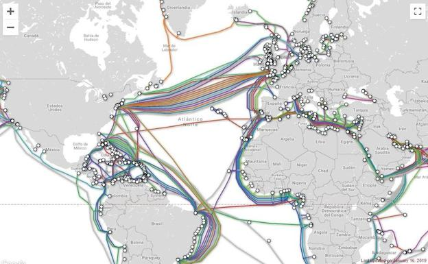 Imagen del cable submarino./Submarine Cable Map