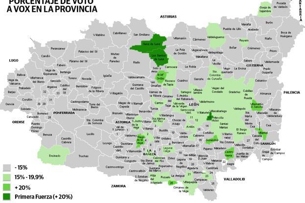 Mapa Del Bierzo Leon.El Efecto Vox En La Provincia Coge Fuerza En Tierras De Leon Y Es Residual En El Bierzo Y Las Cuencas Leonoticias